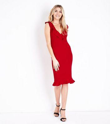 AX Paris Red V Neck Frill Front Midi Dress New Look
