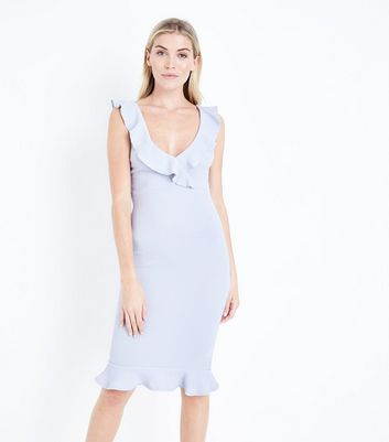 AX Paris Silver V-Neck Frill Front Midi Dress