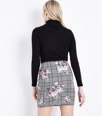 Black Floral Print Check Skirt New Look