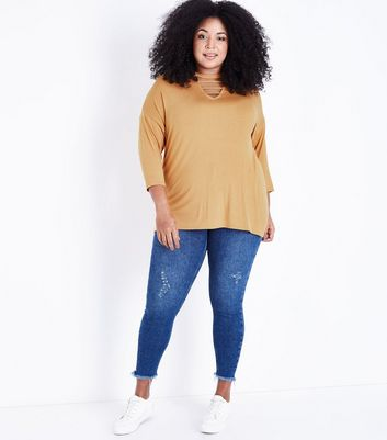 Curves Mustard Cut Out Neck T-Shirt New Look