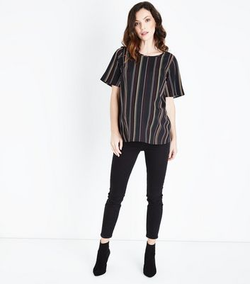 Maternity Black Contrast Stripe Top New Look