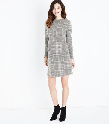 Maternity Black Check Long Sleeve Dress New Look