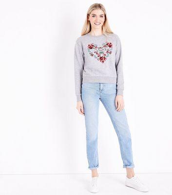 Grey Marl Floral Heart Embroidered Sweatshirt New Look