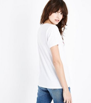 White Comme Ci Comme Ca Slogan Print T-Shirt New Look