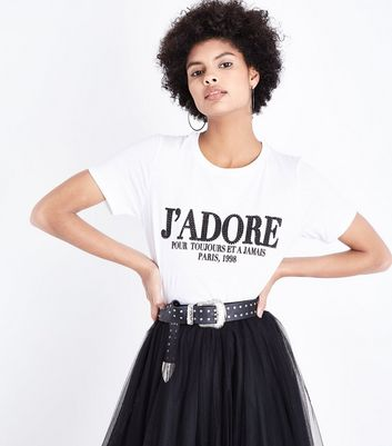 White J'adore Rhinestone T-Shirt New Look