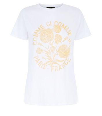 White Comme Ci Comme Ca Print T-Shirt New Look