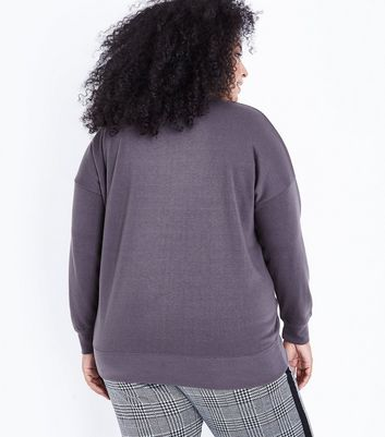 Curves Dark Grey Round Neck Sweatshirt New Look