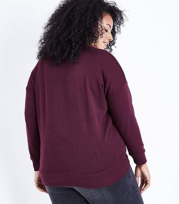 Curves Burgundy Round Neck Sweatshirt New Look