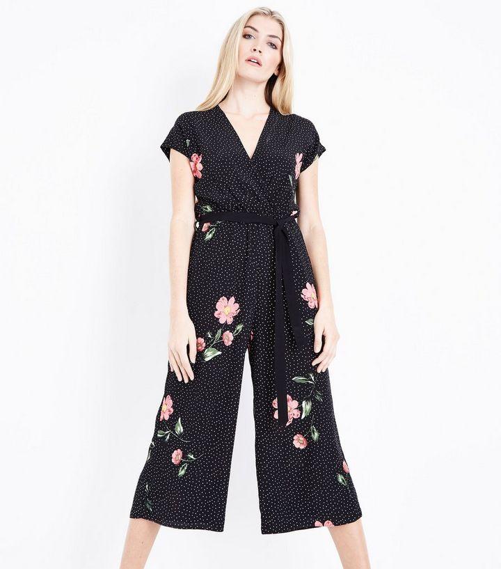 7a1318c285d8 Black Ditsy Floral Print Culotte Jumpsuit