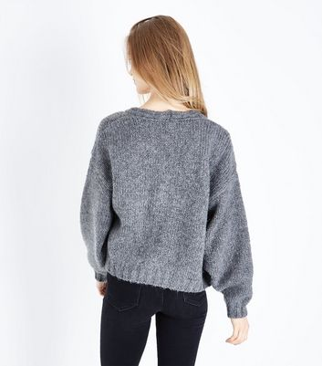 Pale Grey Cropped Cardigan New Look
