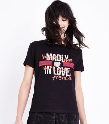 Black Ribbon Trim Love Slogan T-Shirt New Look