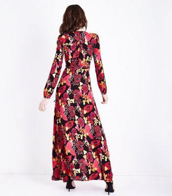 Blue Vanilla Black Floral Long Sleeve Maxi Dress New Look