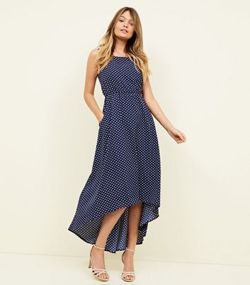 Blue Vanilla Navy Polka Dot Maxi Dress