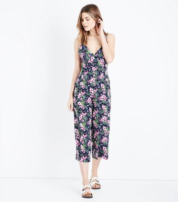 blue vanilla navy floral cross back jumpsuit new look