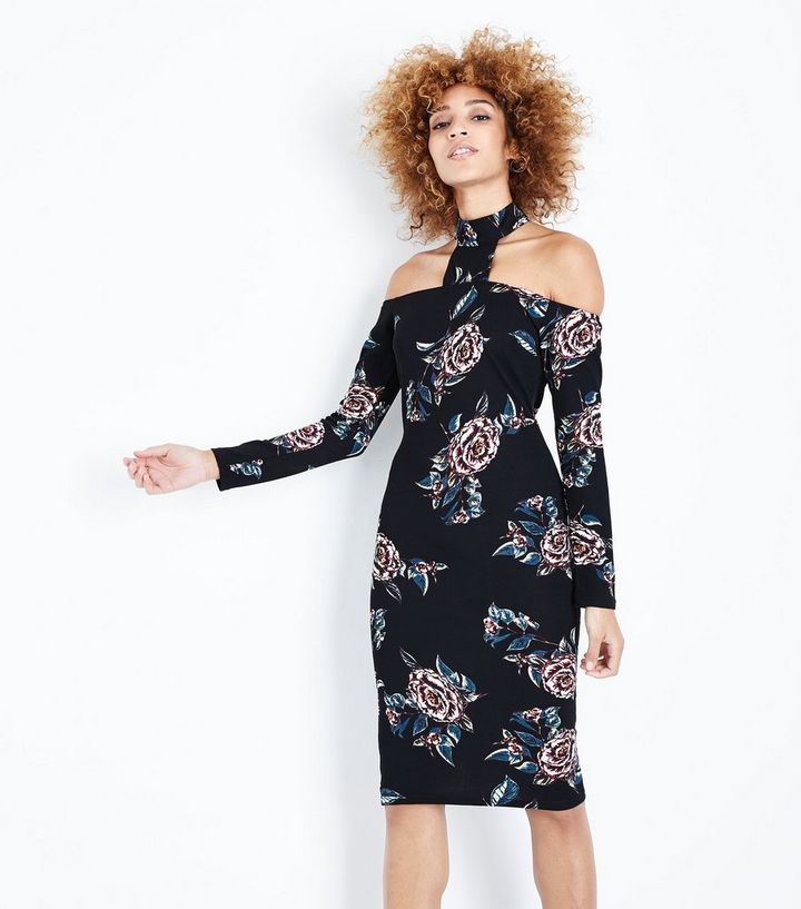 4d8c4d973c8b AX Paris Black Floral Choker Neck Midi Dress | New Look