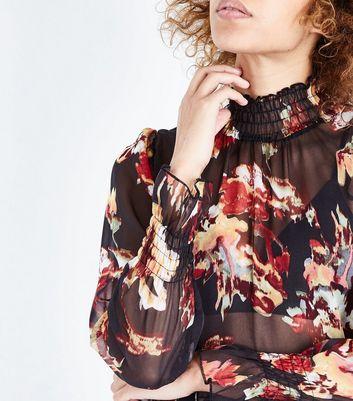 AX Paris Black Floral Print Chiffon Funnel Neck Top New Look