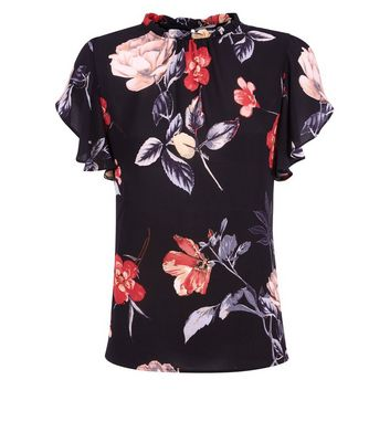 AX Paris Black Floral Frill Sleeve Blouse New Look
