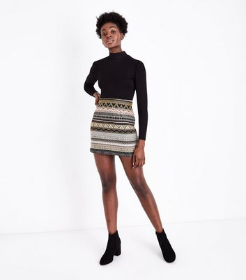 Pink and Gold Jacquard Stripe Mini Skirt New Look