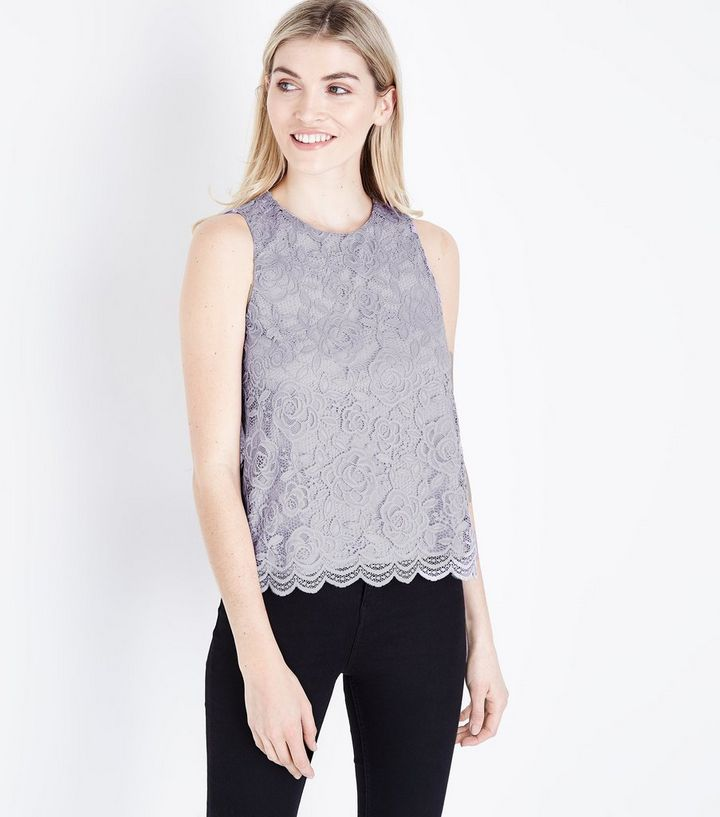 5f976fb9f49c1 Grey Floral Lace Sleeveless Top
