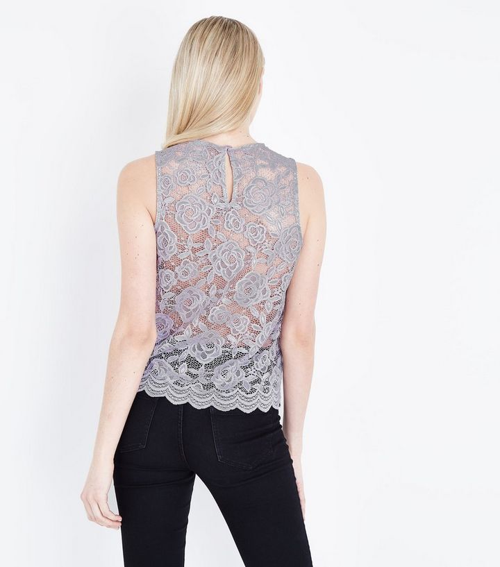 b31d7d15a57e2 ... Grey Floral Lace Sleeveless Top. ×. ×. ×. Shop the look