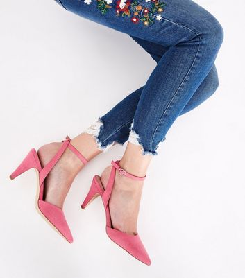 Pink Suedette Ankle Strap Pointed Cone Heels New Look