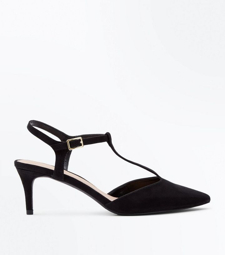 2d64858366a Black Suedette T-Bar Pointed Kitten Heels Add to Saved Items Remove from  Saved Items
