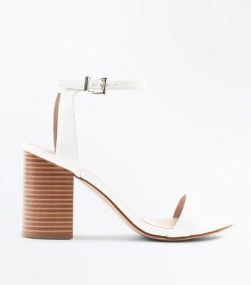 White Leather-Look Wooden Block Heel