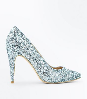 Mint Green Glitter Pointed Court Shoes New Look