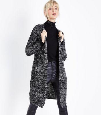 QED Black Marl Oversized Cardigan New Look