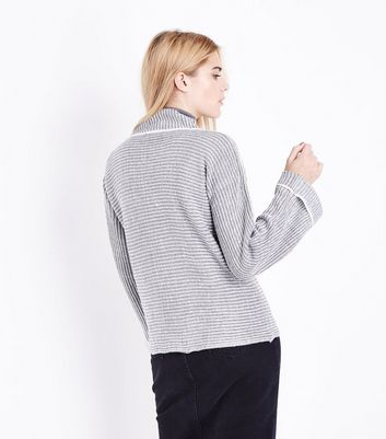 QED Grey Flared Sleeve Ribbed Jumper New Look