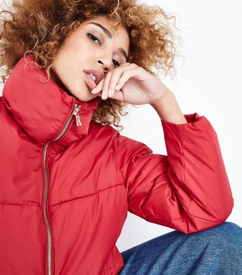 QED Red Funnel Neck Cropped Puffer Jacket New Look