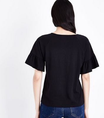 Black Bell Sleeve T-Shirt New Look