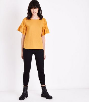 Mustard Yellow Bell Sleeve T-Shirt New Look
