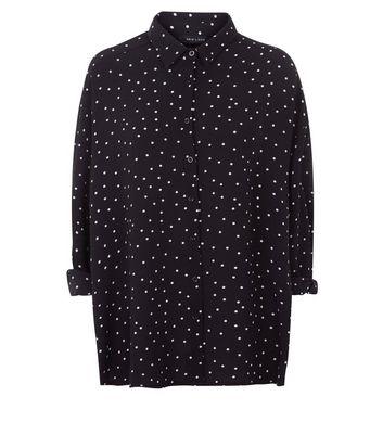 Black Spot Print Dip Hem Shirt New Look