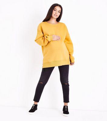 Maternity Mustard Yellow Split Side Sweatshirt New Look