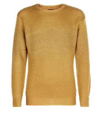 Mustard Honeycomb Knit Jumper New Look