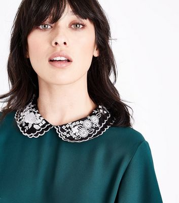 Dark Green Embroidered Collar Tiered Sleeve Blouse New Look