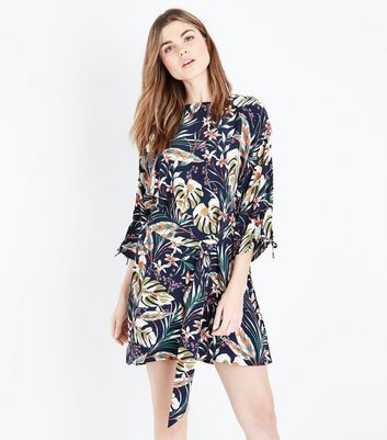 Blue Vanilla Navy Floral Print Tie Sleeve Dress