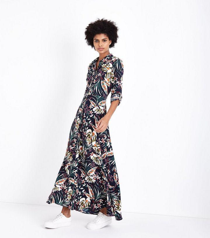Super Blue Vanilla Navy Floral Maxi Shirt Dress | New Look &NQ11