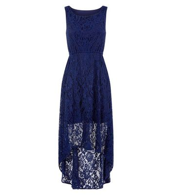 blue vanilla navy lace dip hem maxi dress new look
