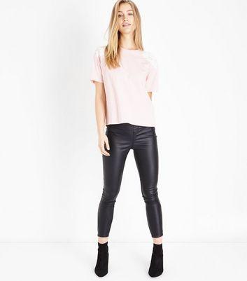 Pink Floral Applique Shoulder T-Shirt New Look