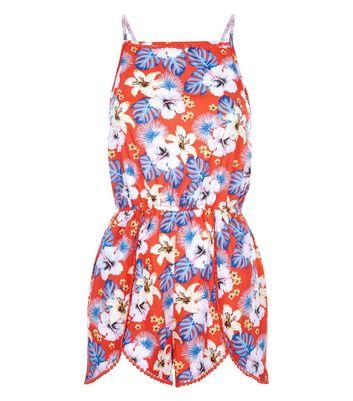 Teens Red Floral Print Beach Playsuit New Look
