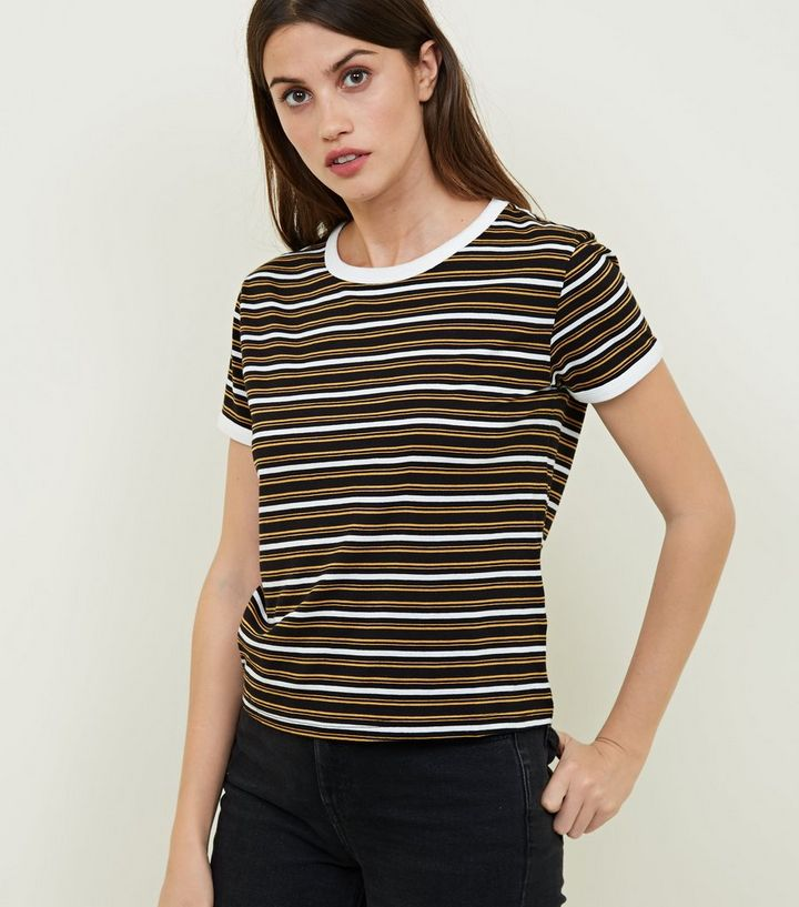 77bd0fcb43 Black Multi Stripe Ringer T-Shirt | New Look