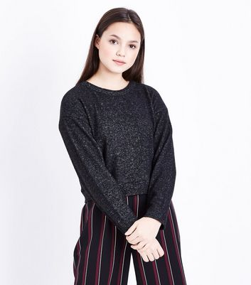 Teens Dark Grey Brushed Jersey Jumper New Look