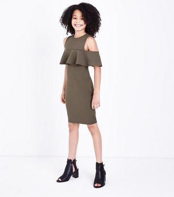 Teens Khaki Frill Trim Cold Shoulder Dress New Look