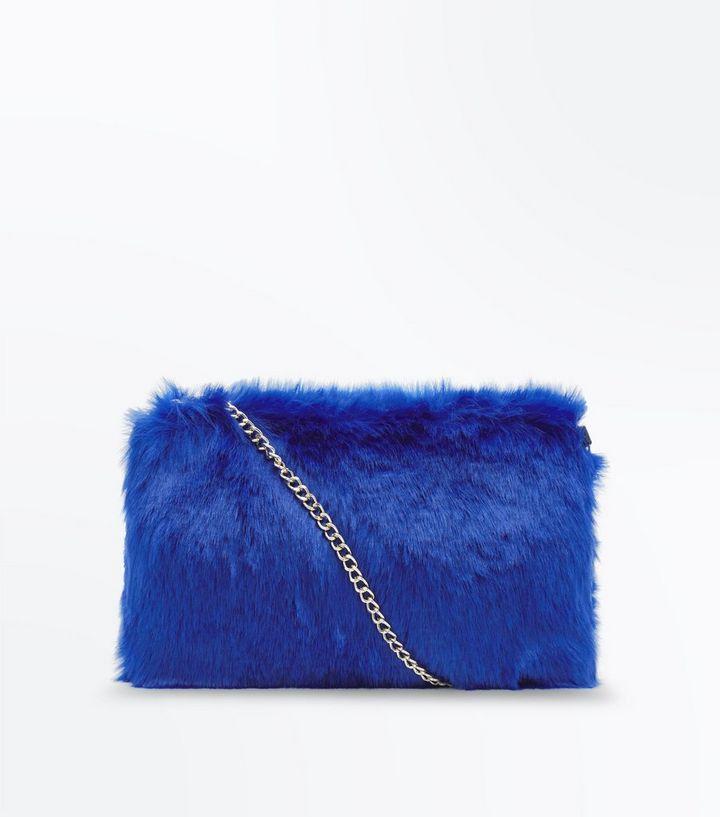 c4c9899936 Blue Faux Fur Chain Cross Body Bag