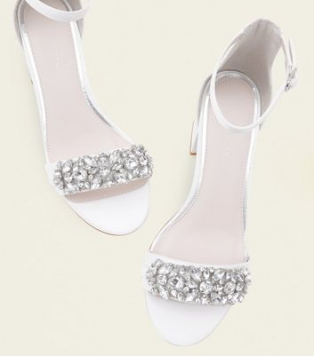 Off White Satin Embellished Wedding Sandals New Look