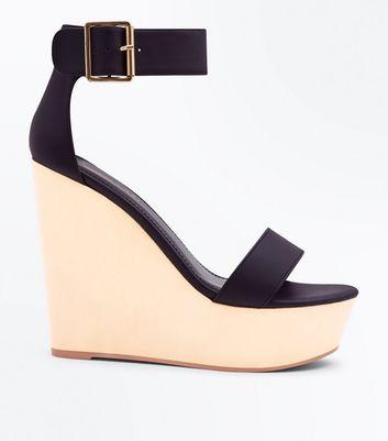 Sandales compensées noires à plateforme et bride de cheville New Look