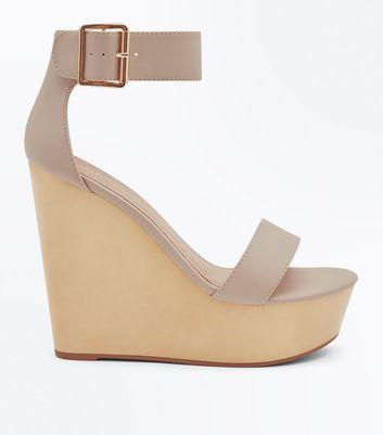 Chaussures nude à grandes plateformes compensées et brides de cheville New Look