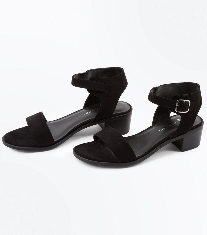 1e8e7a8b52b ... Wide Fit Black Suedette Low Block Heel Sandals. ×. ×. ×. Shop the look